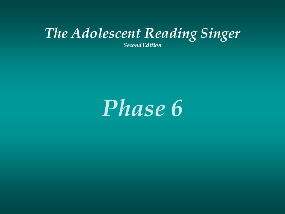 The Adolescent Reading Singer Second Edition Phase 6