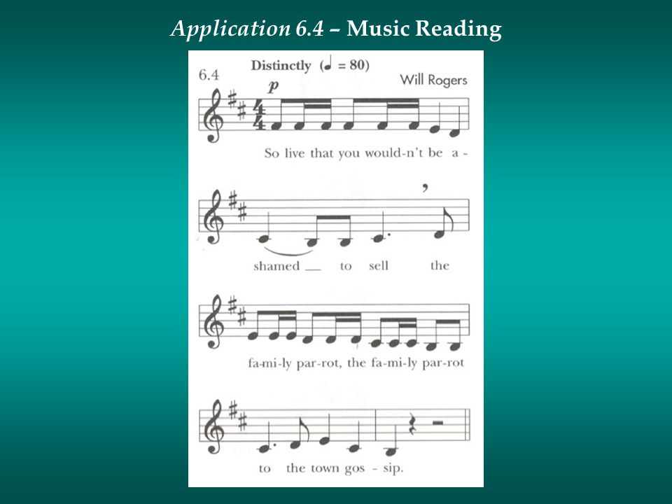 Application 6.4 – Music Reading