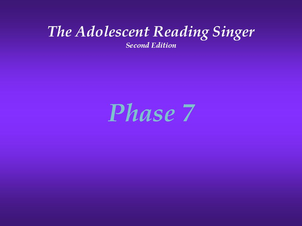 The Adolescent Reading Singer Second Edition Phase 7