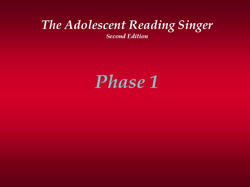 The Adolescent Reading Singer Second Edition Phase 1