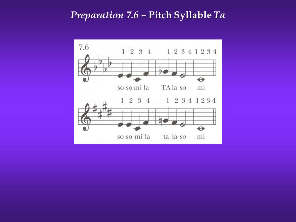 Preparation 7.6 – Pitch Syllable Ta