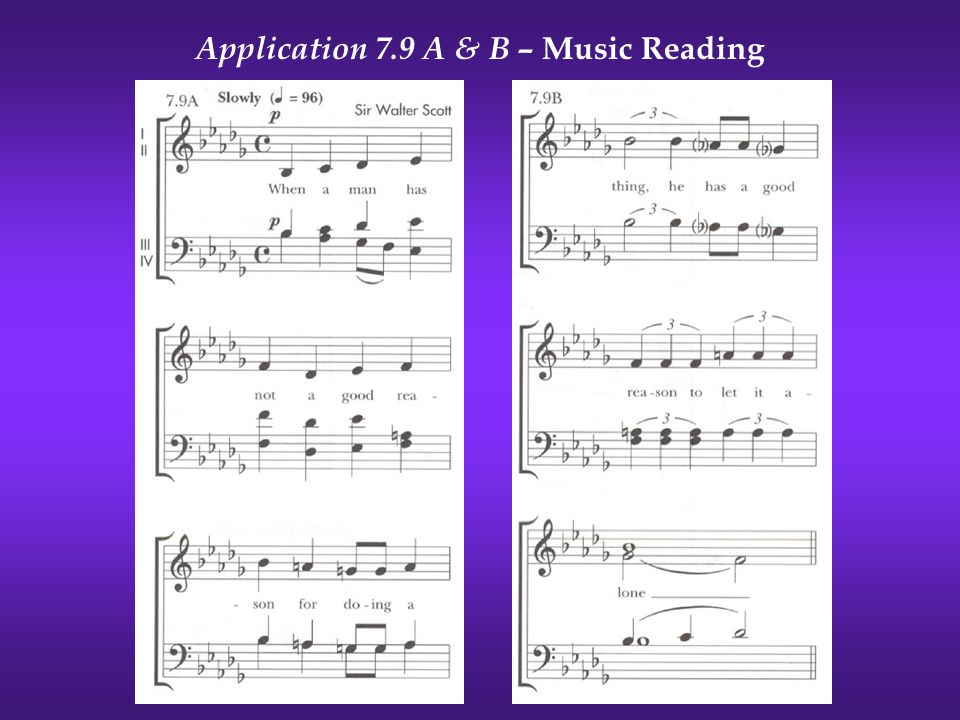 Application 7.9 A & B – Music Reading