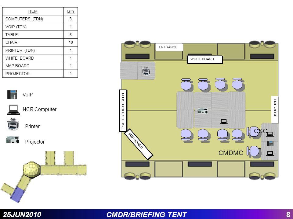 825JUN2010CMDR/BRIEFING TENT MAP BOARD WHITE BOARD ENTRANCE PROJECTOR SCREEN CMDMC ITEMQTY COMPUTERS (TDN)3 VOIP (TDN)1 TABLE6 CHAIR10 PRINTER (TDN)1
