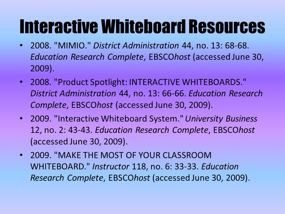 Interactive Whiteboard Resources 2008. MIMIO. District Administration 44, no.
