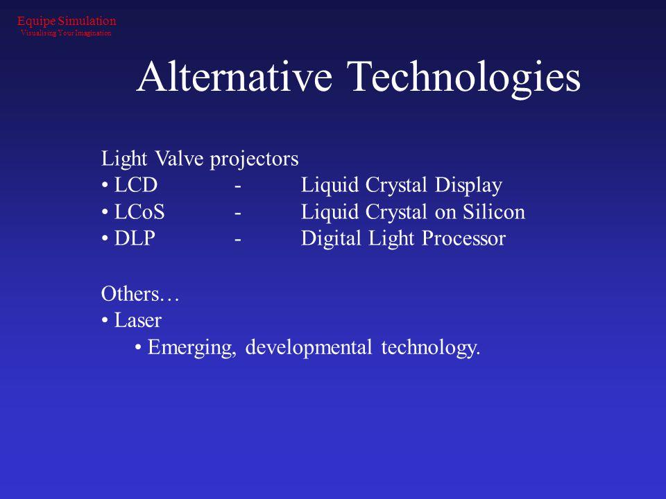 Alternative Technologies Light Valve projectors LCD- Liquid Crystal Display LCoS-Liquid Crystal on Silicon DLP-Digital Light Processor Others… Laser E