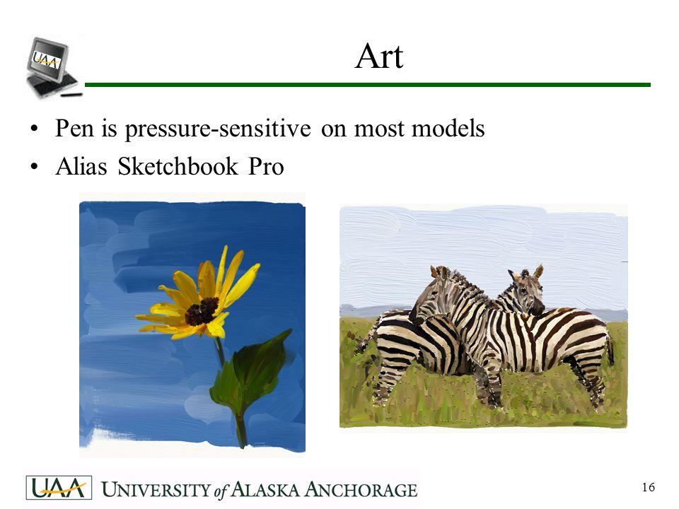 16 Art Pen is pressure-sensitive on most models Alias Sketchbook Pro