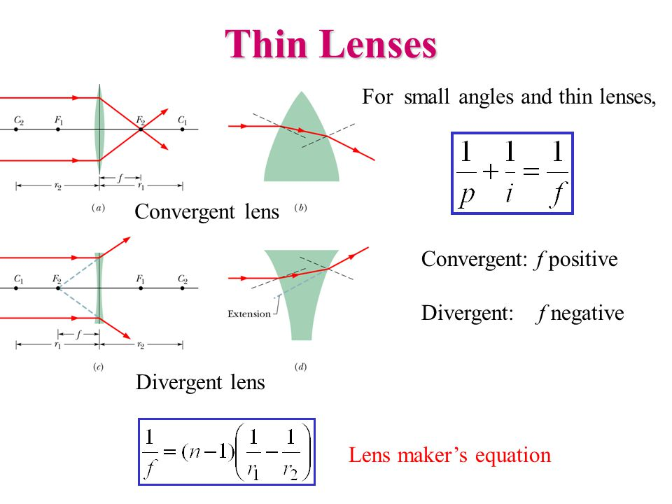 Thin Lenses For small angles and thin lenses, Convergent: f positive Divergent: f negative Lens maker's equation Convergent lens Divergent lens