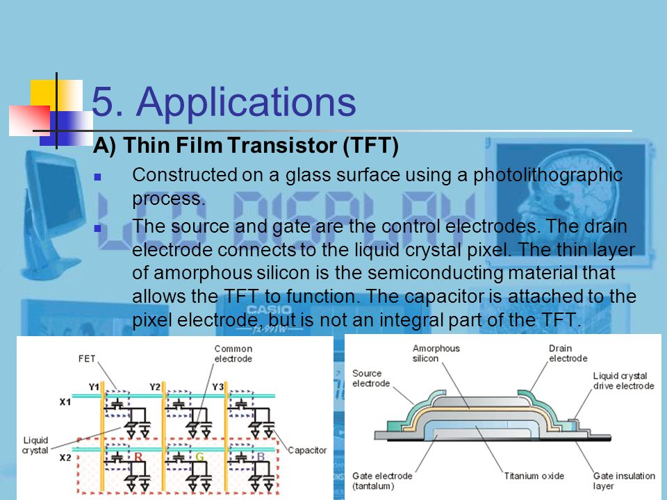21 5. Applications A) Thin Film Transistor (TFT) Constructed on a glass surface using a photolithographic process. The source and gate are the control