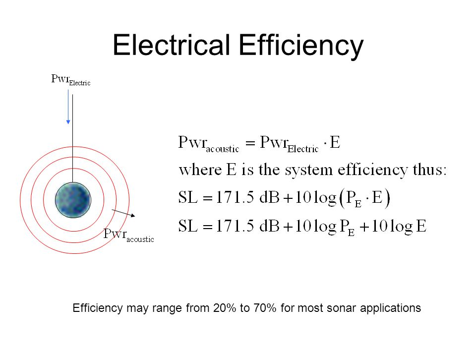 Electrical Efficiency Efficiency may range from 20% to 70% for most sonar applications