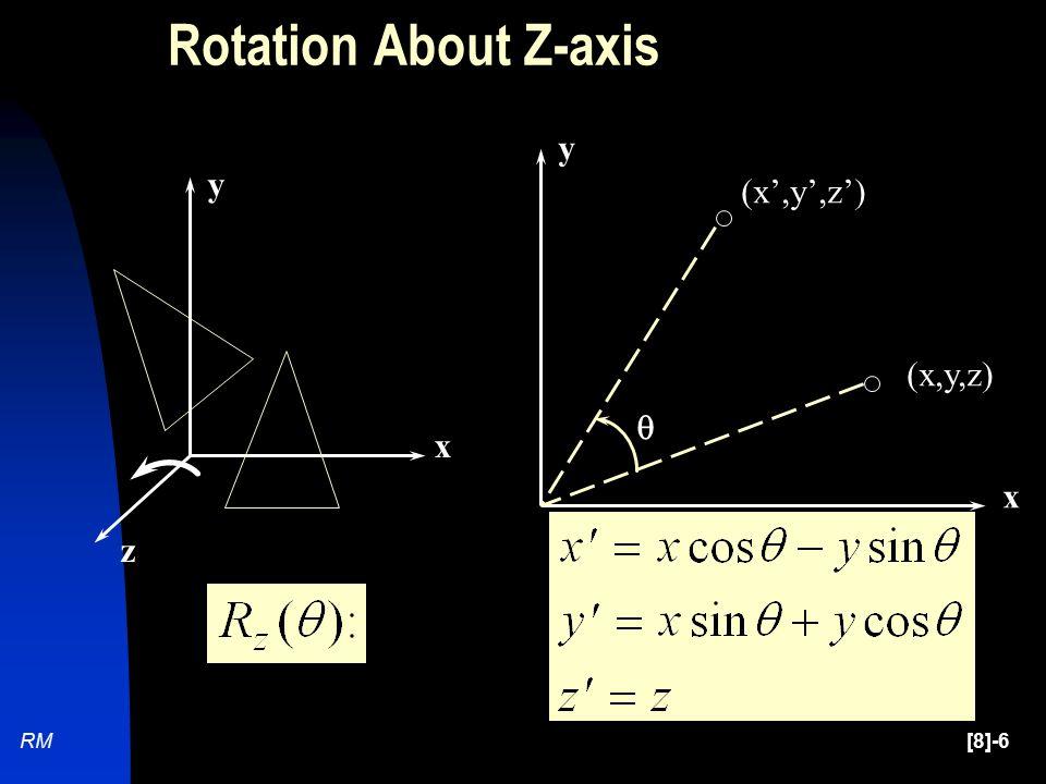 [8]-6RM (x,y,z) (x',y',z')  x y x y z Rotation About Z-axis