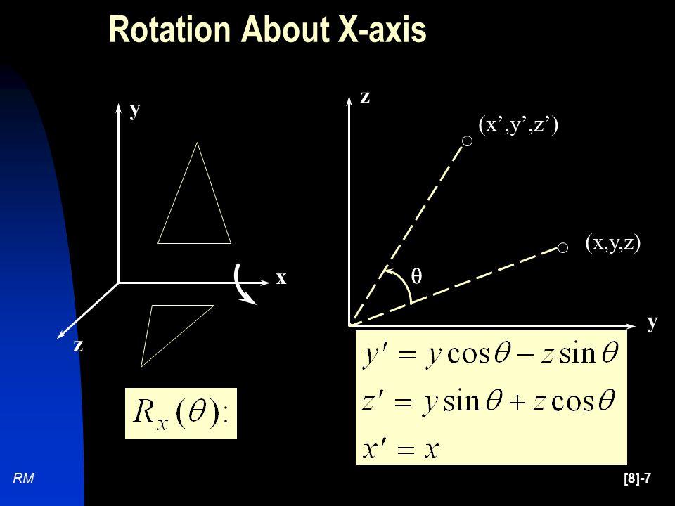 [8]-7RM (x,y,z) (x',y',z')  y z x y z Rotation About X-axis