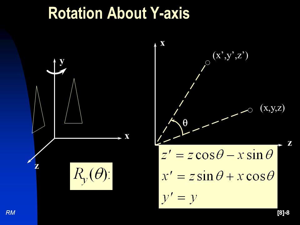 [8]-8RM (x,y,z) (x',y',z')  z x x y z Rotation About Y-axis