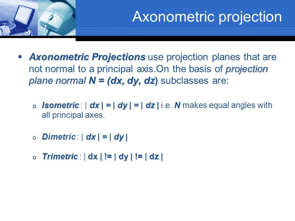 Axonometric projection  Axonometric Projections projection planenormal N = (dx, dy, dz  Axonometric Projections use projection planes that are not n