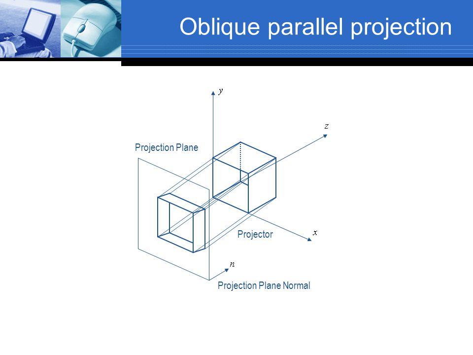 Oblique parallel projection Projection Plane Normal Projector Projection Plane