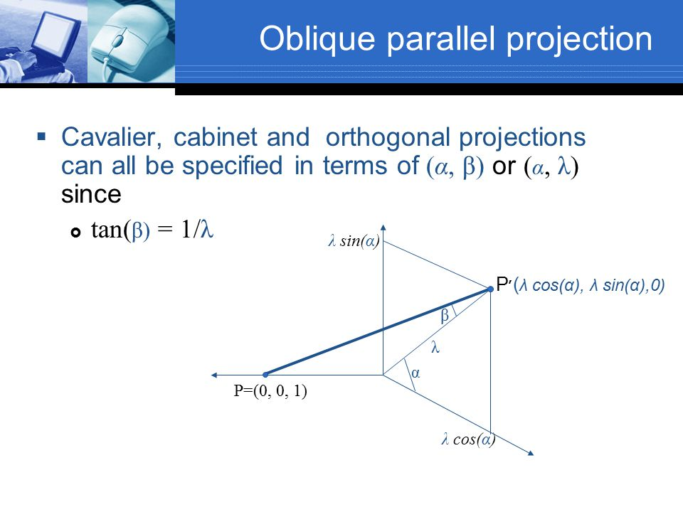 Oblique parallel projection  Cavalier, cabinet and orthogonal projections can all be specified in terms of (α, β) or ( α, λ) since  tan( β) = 1/λ α