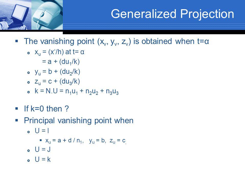 Generalized Projection  The vanishing point (x v, y v, z v ) is obtained when t=α  x u = (x'/h) at t= α = a + (du 1 /k)  y u = b + (du 2 /k)  z u