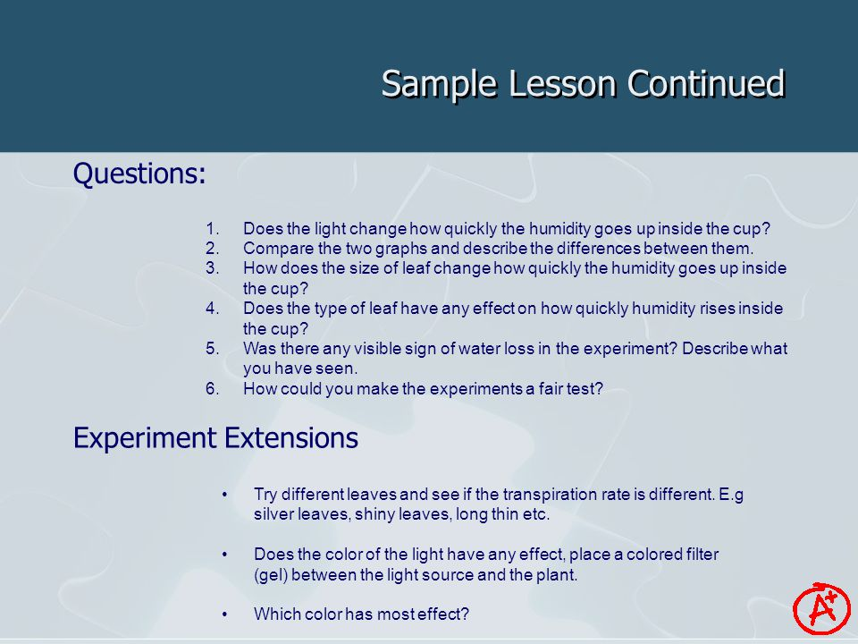 Sample Lesson Continued Questions: Experiment Extensions 1.Does the light change how quickly the humidity goes up inside the cup.