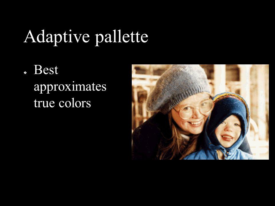 Adaptive pallette � Best approximates true colors