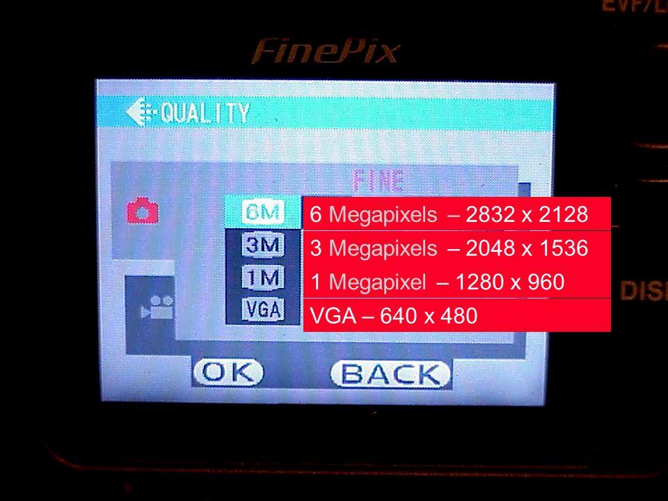 Digital Camera resolution 6 Megapixels – 2832 x 2128 3 Megapixels – 2048 x 1536 1 Megapixel – 1280 x 960 VGA – 640 x 480