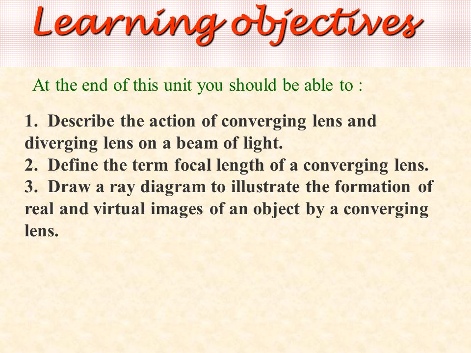 Types of converging lens: A converging (or convex) lens is thicker in the middle than at the edge.
