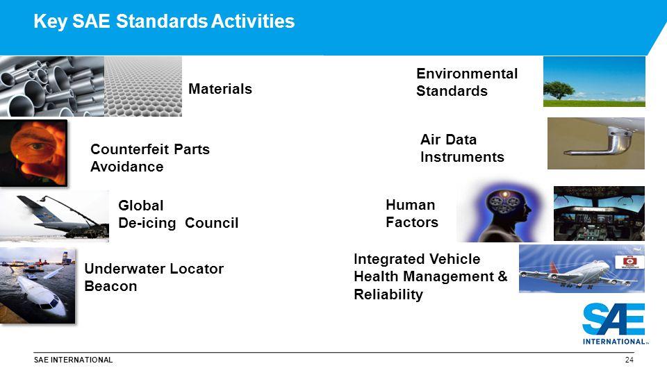 SAE INTERNATIONAL Key SAE Standards Activities 24 Materials Human Factors Environmental Standards Underwater Locator Beacon Air Data Instruments Integ