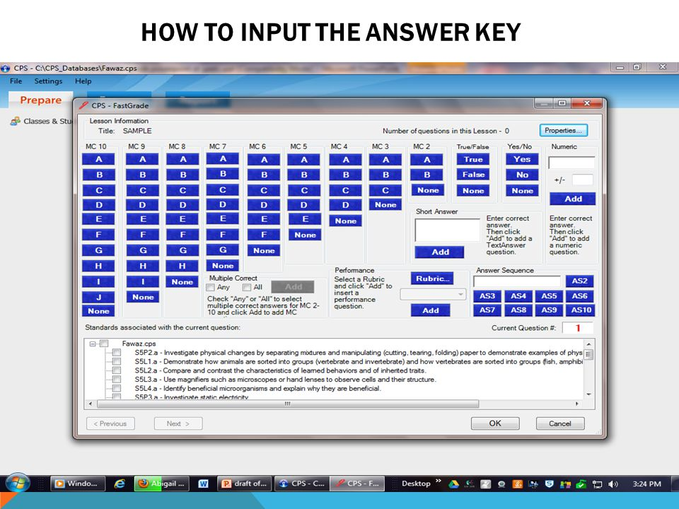 HOW TO INPUT THE ANSWER KEY