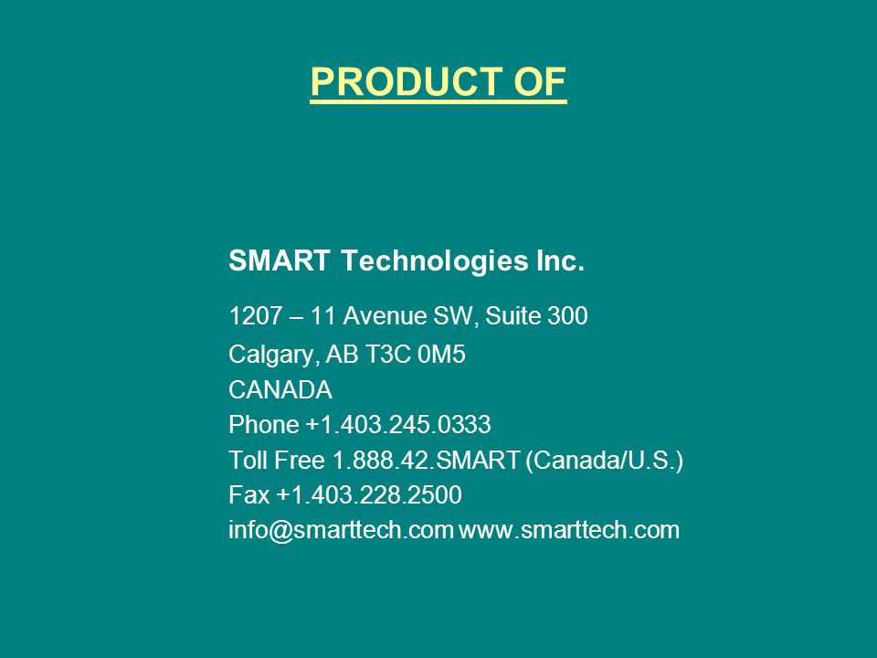 PRODUCT OF SMART Technologies Inc.