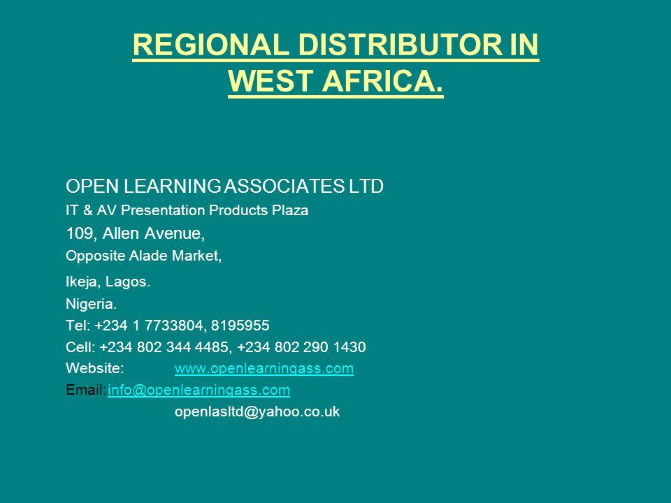 REGIONAL DISTRIBUTOR IN WEST AFRICA.