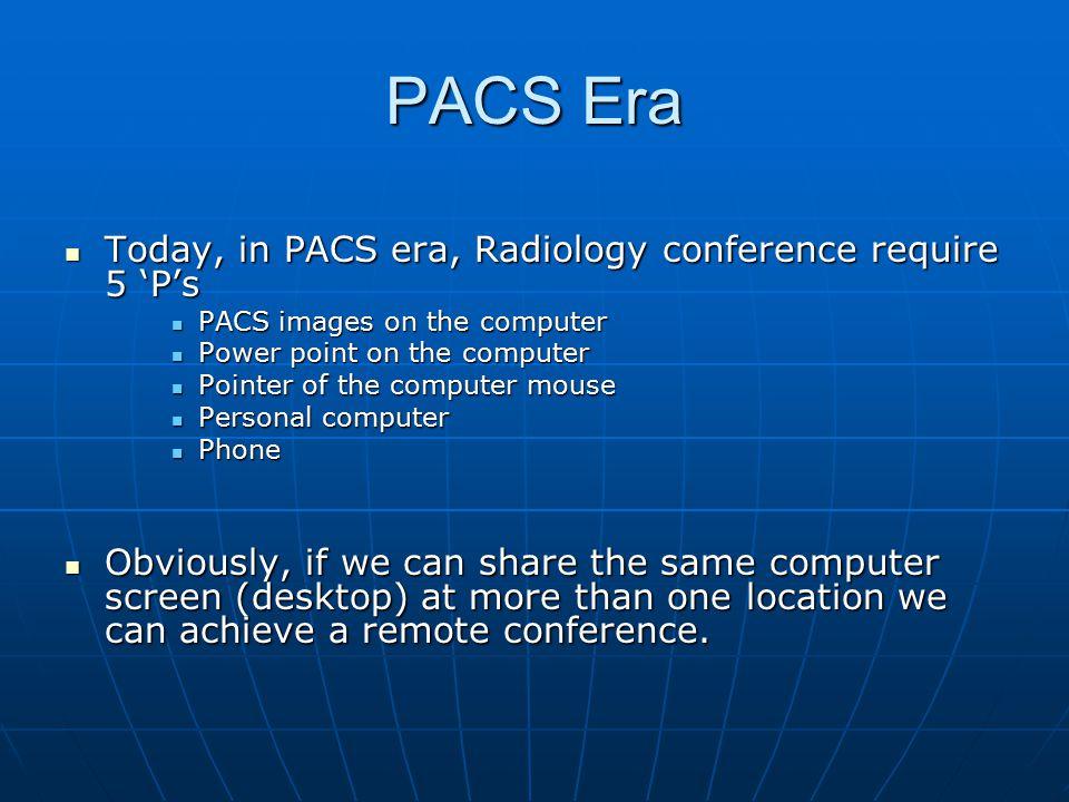 PACS Era Today, in PACS era, Radiology conference require 5 'P's Today, in PACS era, Radiology conference require 5 'P's PACS images on the computer P