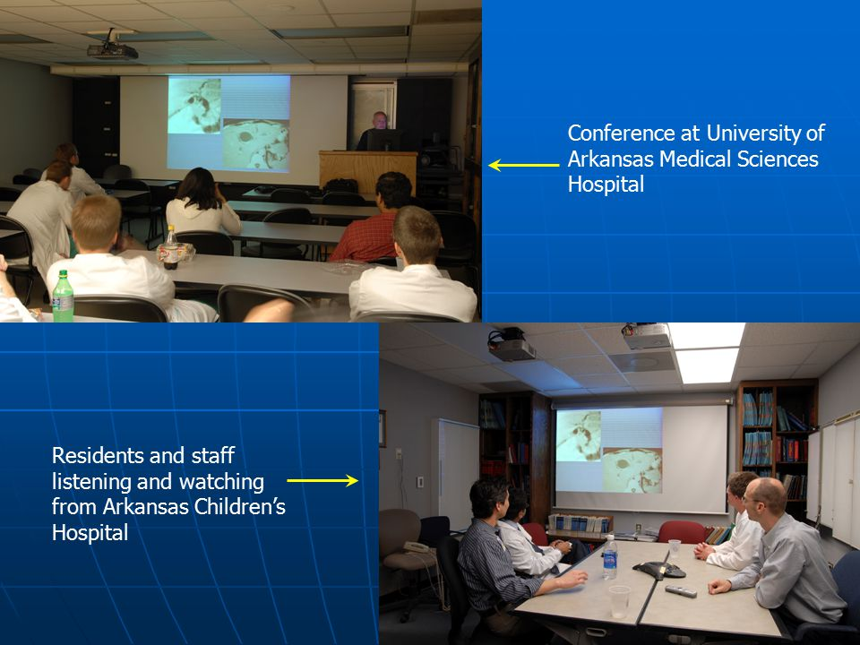 Conference at University of Arkansas Medical Sciences Hospital Residents and staff listening and watching from Arkansas Children's Hospital