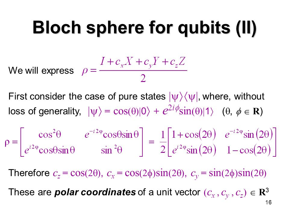 16 Bloch sphere for qubits (II) We will express First consider the case of pure states  , where, without loss of generality,  = cos (  )  0