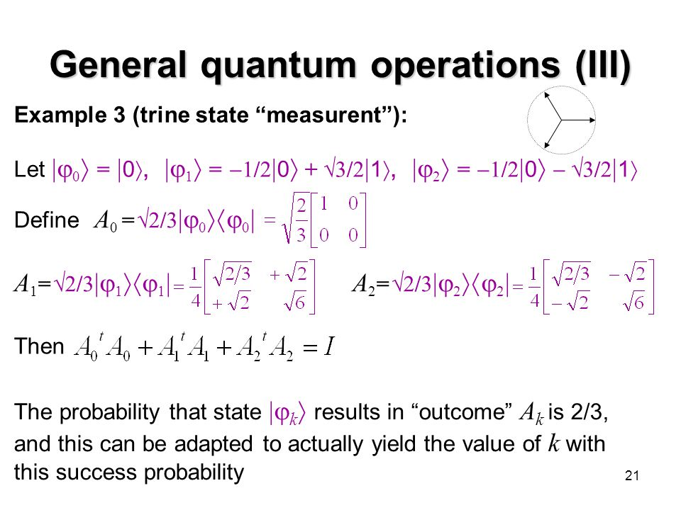 "21 General quantum operations (III) Example 3 (trine state ""measurent""): Let  0  =  0 ,  1  =  1/2  0  +  3/2  1 ,  2  =  1/2  0 "