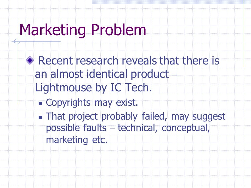 Marketing Problem Recent research reveals that there is an almost identical product – Lightmouse by IC Tech.