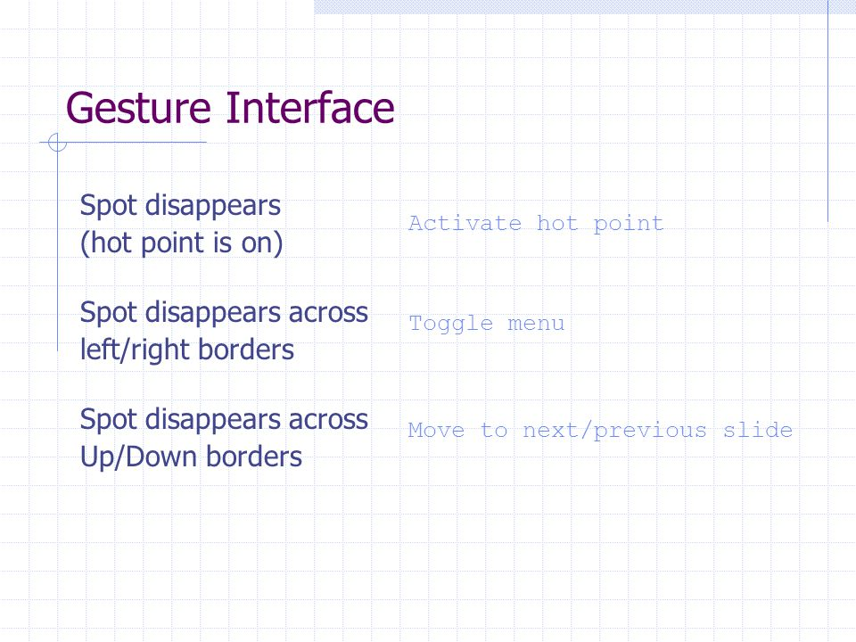 Gesture Interface Spot disappears (hot point is on) Activate hot point Spot disappears across left/right borders Toggle menu Spot disappears across Up/Down borders Move to next/previous slide