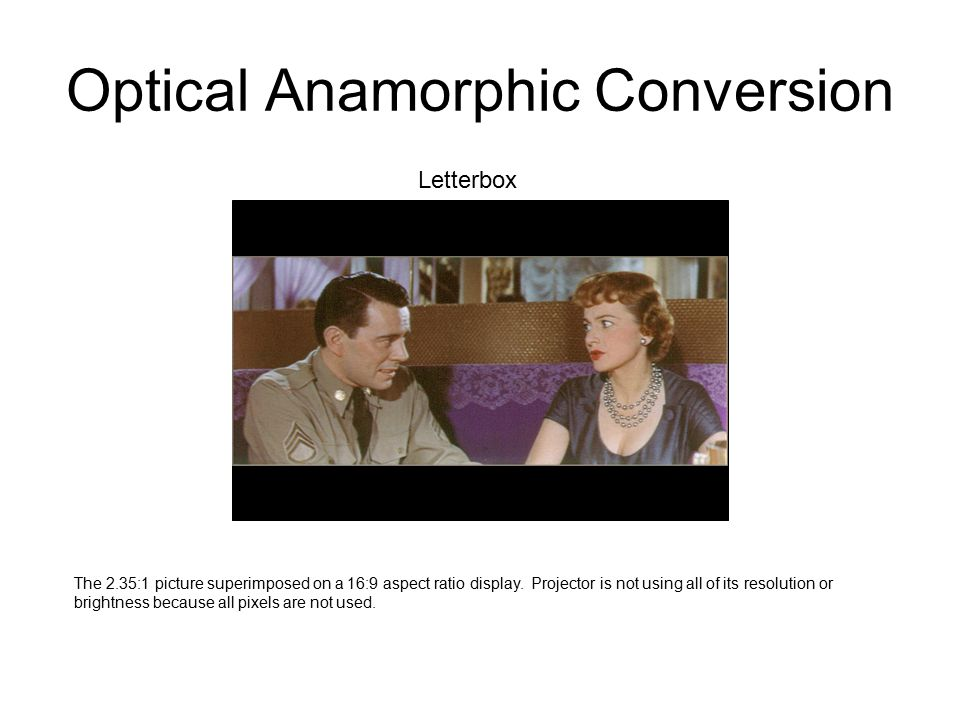 Optical Anamorphic Conversion A digital scalar is used to vertically stretch the letterboxed picture until all pixels are utilized.