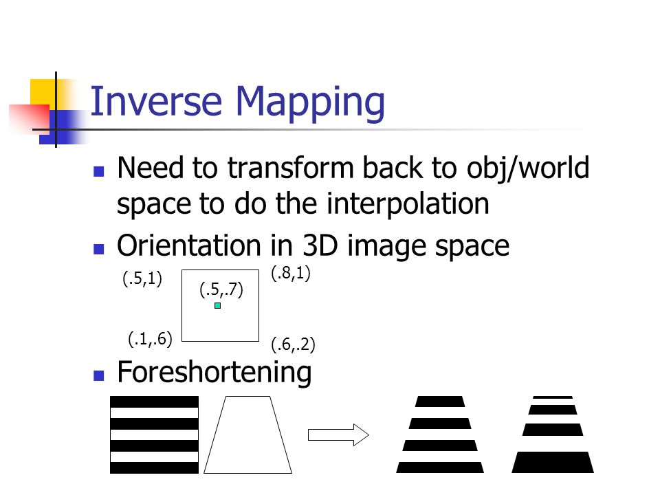 Inverse Mapping Need to transform back to obj/world space to do the interpolation Orientation in 3D image space Foreshortening (.5,1) (.8,1) (.1,.6) (