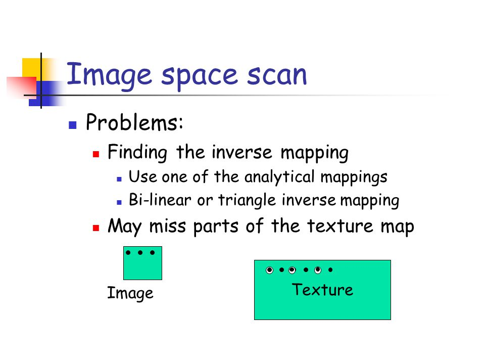 Texture Image space scan Problems: Finding the inverse mapping Use one of the analytical mappings Bi-linear or triangle inverse mapping May miss parts