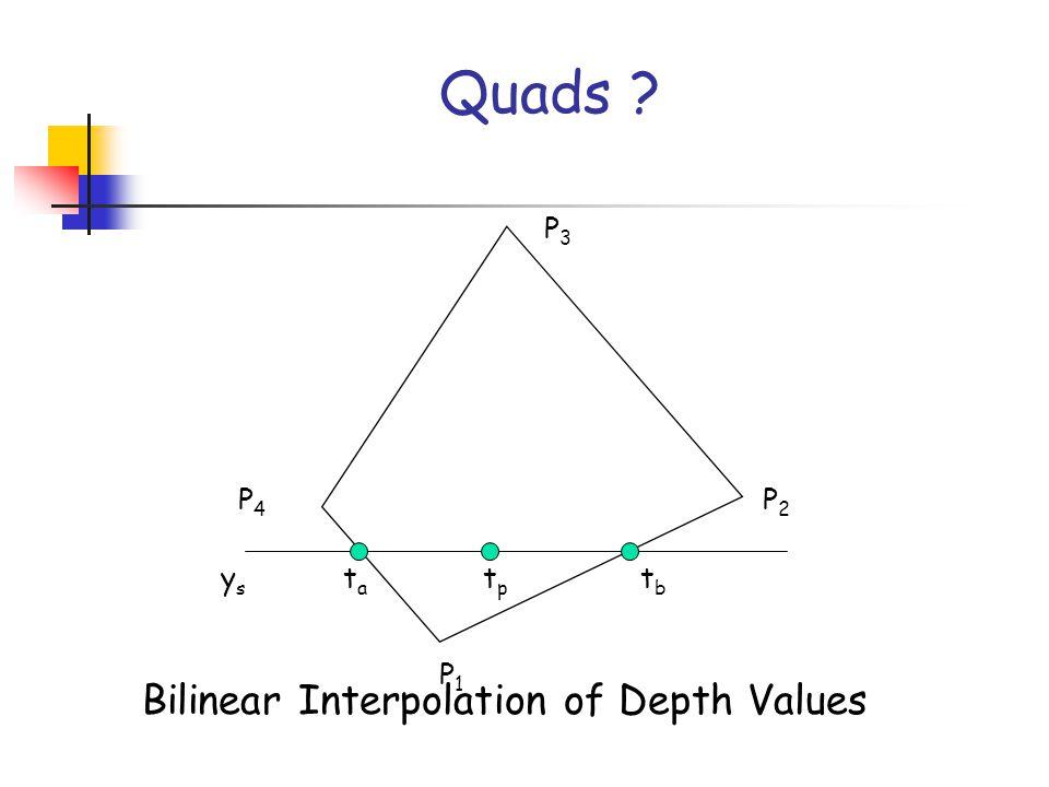 P1P1 P2P2 P3P3 P4P4 ysys tata tptp tbtb Quads Bilinear Interpolation of Depth Values