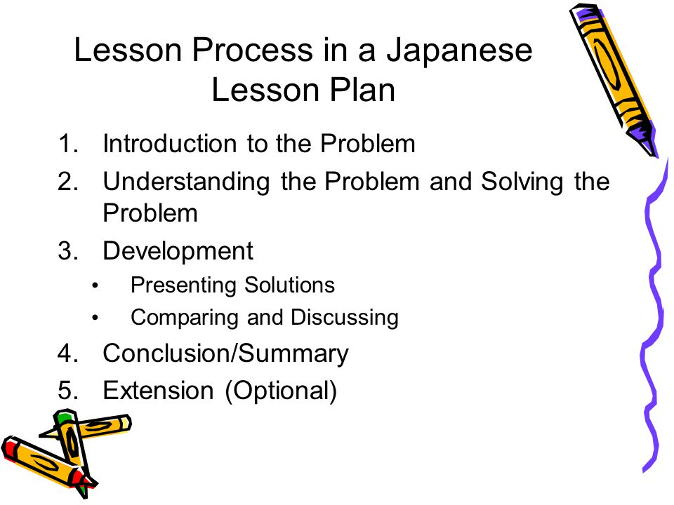 Lesson Process in a Japanese Lesson Plan 1.Introduction to the Problem 2.Understanding the Problem and Solving the Problem 3.Development Presenting So