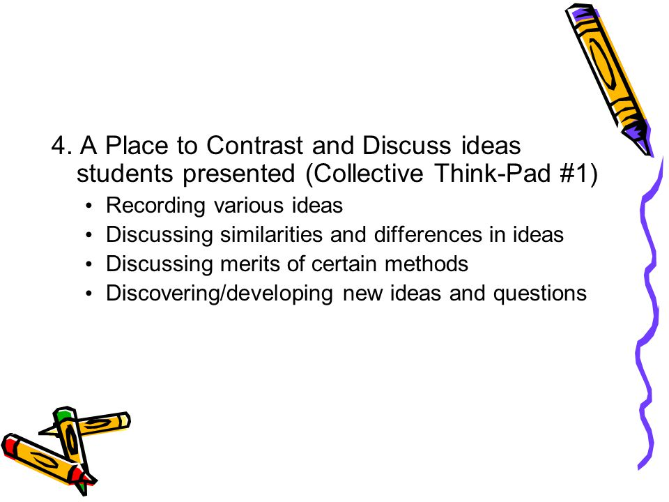 4. A Place to Contrast and Discuss ideas students presented (Collective Think-Pad #1) Recording various ideas Discussing similarities and differences