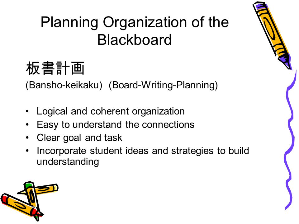 Planning Organization of the Blackboard 板書計画 (Bansho-keikaku) (Board-Writing-Planning) Logical and coherent organization Easy to understand the connec