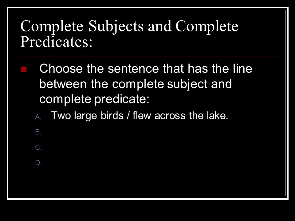 Complete Subjects and Complete Predicates: Choose the sentence that has the line between the complete subject and complete predicate: A. Two large bir