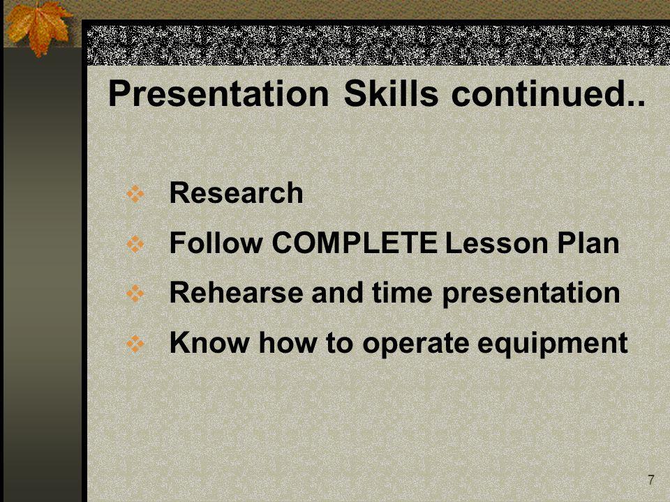 7 Presentation Skills continued..