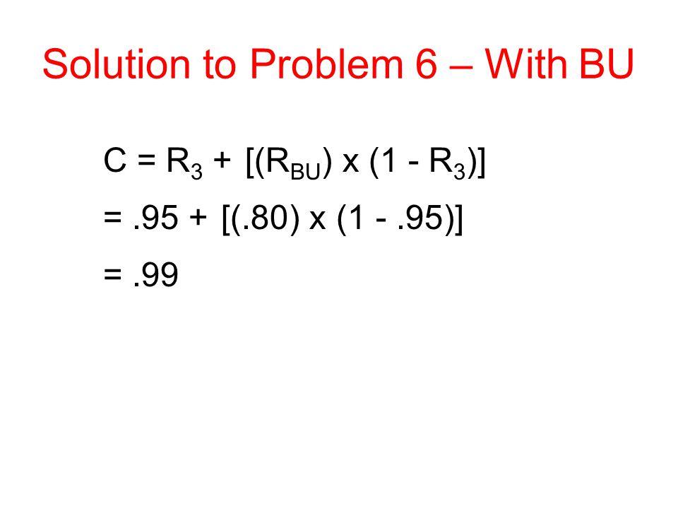 Solution to Problem 6 – With BU C = R 3 + [(R BU ) x (1 - R 3 )] =.95 + [(.80) x (1 -.95)] =.99