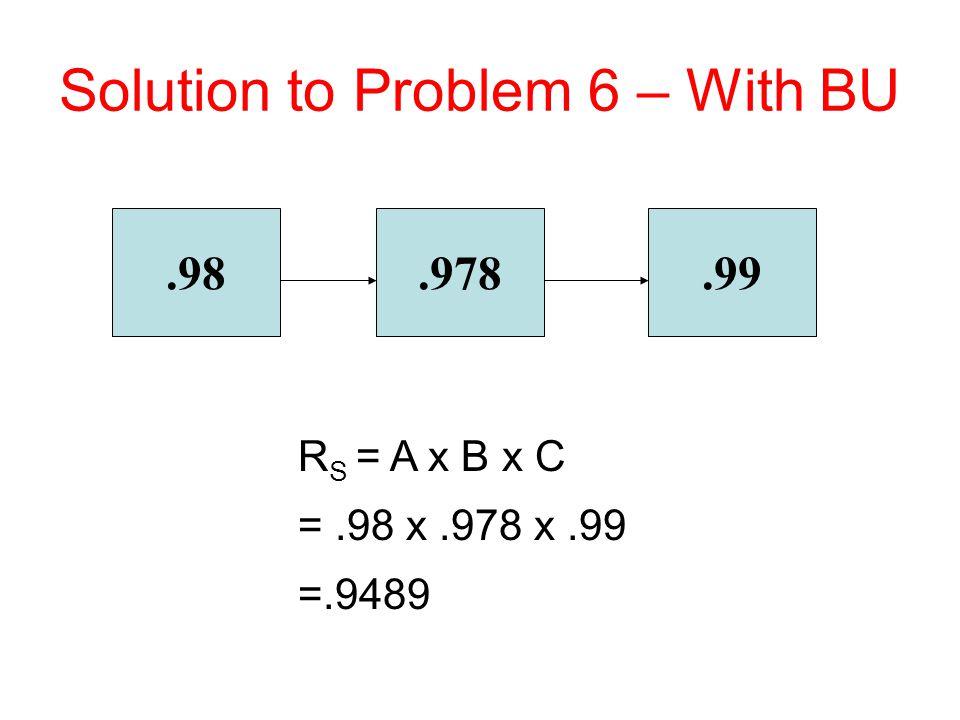 .98.978.99 R S = A x B x C =.98 x.978 x.99 =.9489 Solution to Problem 6 – With BU