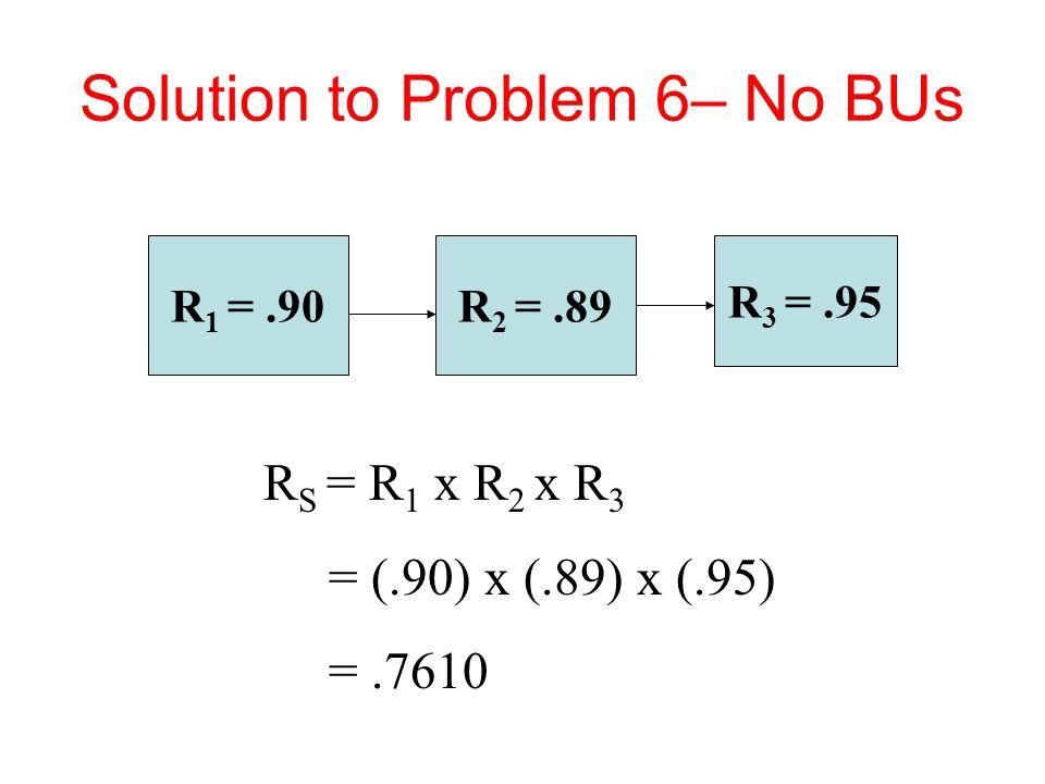 Solution to Problem 6– No BUs R 1 =.90 R 3 =.95 R 2 =.89 R S = R 1 x R 2 x R 3 = (.90) x (.89) x (.95) =.7610