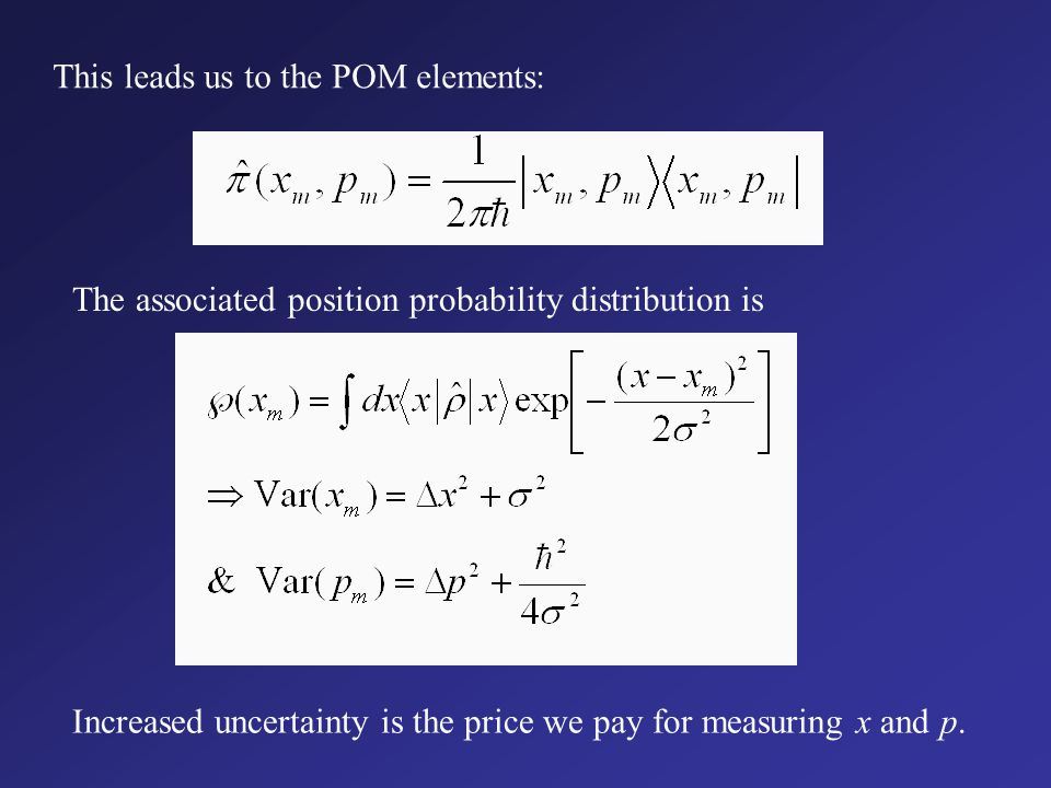 POM description of joint measurements Probability density: Minimum uncertainty states: