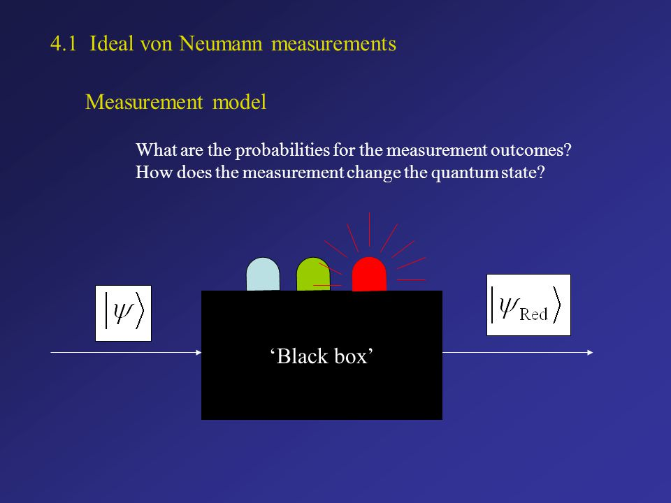 Measurement model What are the probabilities for the measurement outcomes.