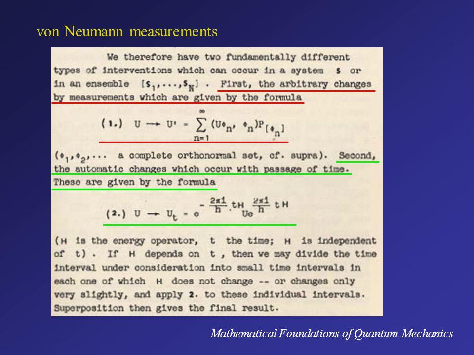 von Neumann measurements Mathematical Foundations of Quantum Mechanics