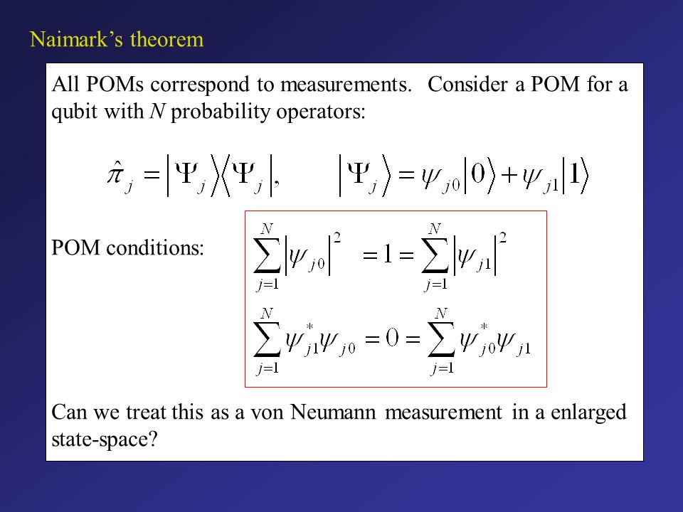 Summary The projective von Neumann measurements do not provide the most general description of a measurement.